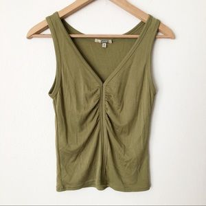 Gimmicks by BKE Green Ruched Rib V Neck Tank Top
